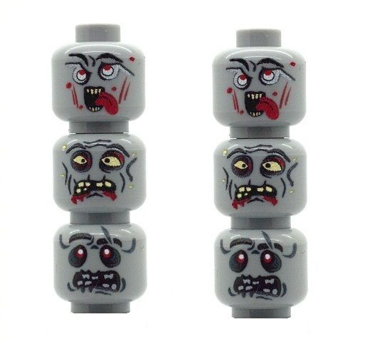 6 Custom Zombie Heads (Grey) for The Walking Dead Minifigures