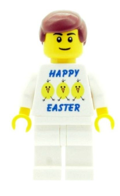 Boy with Happy Easter (Eggs & Chicks) T-shirt - Custom Designed Minifigure