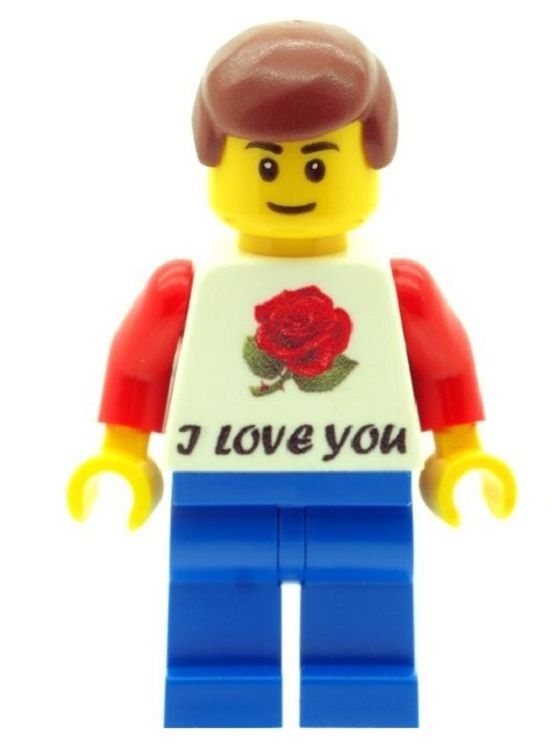 Boy with I Love You T-Shirt, Perfect for Valentines, Birthday or any other Special Occasions - Custom Designed Minifigure