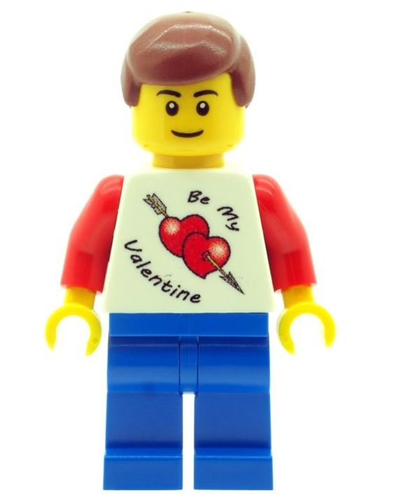 Boy with Valentine T-Shirt - Custom Designed Minifigure