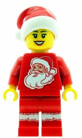 Christmas Girl with Santa Torso & Hat - Custom Designed Minifigure