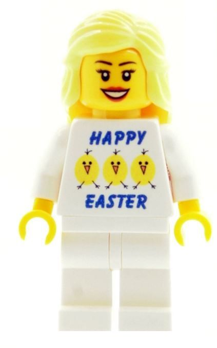 Girl with Happy Easter (Eggs & Chicks) T-shirt - Custom Designed Minifigure
