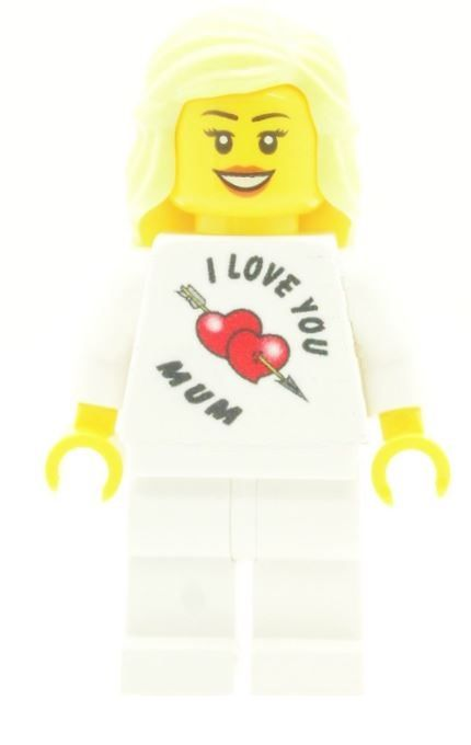 Girl with I Love You Mum T-Shirt for Mothers Day, Birthday or any other Special Occasions - Custom Designed Minifigure