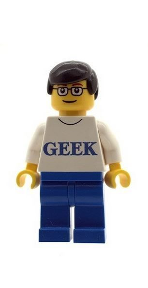 Male/ Boy Figure with Geek T Shirt - Custom Designed Minifigure