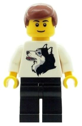 Male/Boy with Husky Dog T Shirt - Custom Designed Minifigure